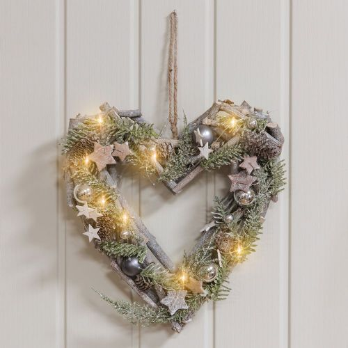 Light Up Christmas Heart Wreath with pine cones and silver baubles and LED lights